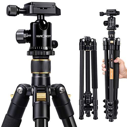 KF-Concept-TM2324-Trpied-pour-Appareil-Photo-Reflex-Canon-Nikon-et-Sony-idal-pour-Les-Voyages-en-Aluminium-avec-rotule-Plateau–relche-Rapide-et-Sac-pour-trpied-156-cm-0