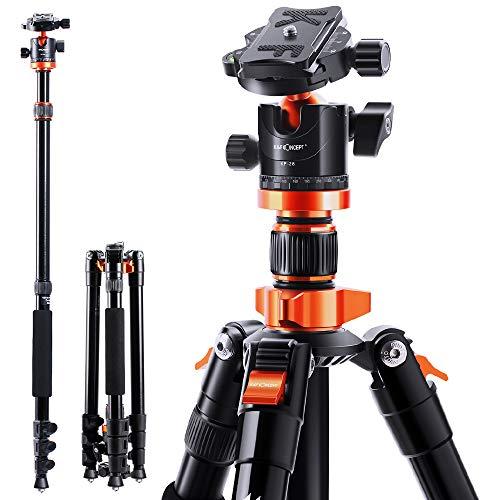 KF-Concept-Trepied-Appareil-Photo-Monopode-en-Aluminium-200cm-avec-Rotule-Panoramique-360-pour-Camera-Camescopes-Charge-10kg-Orange-0