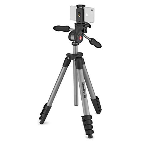 Manfrotto-MKSCOMPACTADVBK-Compact-Advanced-Smart-Trepied-avec-la-Rotule-3D-et-Pince-pour-Smartphone-iPhone-Samsung-Huawei-LG-Google-Phones-Reflex-Hybride-Compact-Appareil-Photo-Aluminium-0