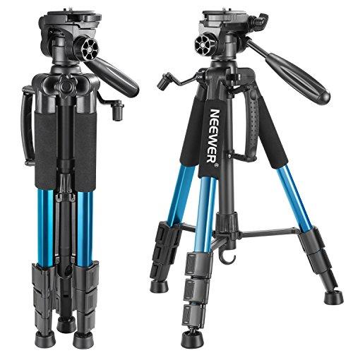 Neewer-Trepied-en-Aluminium-142-cm-avec-tete-pivotante-a-3-Voies-et-Sac-de-Rangement-pour-Appareil-Photo-Reflex-numerique-camescope-DV-capacite-de-Charge-jusqua-4-kg-Bleu-0