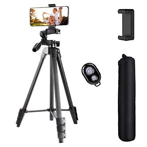 Trepied-Smartphone-54-137cm-Tte-Rglable–3-Voies-Trepied-Appareil-Photo-avec-Adaptateur-de-Tlphone-et-tlcommande-Bluetooth-pour-iPhone-Samsung-Appareil-Photo-Gopro-Noir-0