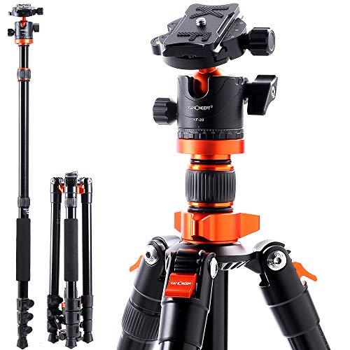 KF-Concept-Trepied-Appareil-Photo-158cm-Trepieds-Reflex-Monopode-en-Aluminium-4-Sections-avec-Rotule-Metal-Sac-de-Transport-Inclus-Orange-Max-10kg-SA254M1-0