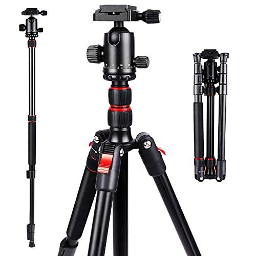Trepied-Appareil-Photo-Monopode-160cm-Professionel-en-Aluminium-56-164-cm-avec-Rotule-Metal-Sac-de-Transport-Max-8kg-Convient-pour-Canon-Nikon-Sony-0