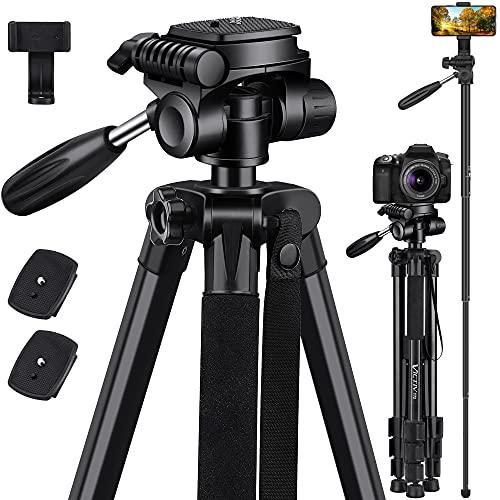 VICTIV-183cm-Trepied-Appareil-Photo-en-Alliage-dAluminium2-en-1-Polyvalent-Trepied-Monopode-Trepied-Portable-pour-Appareil-Tete-Pivotante-Panoramique-a-360Convient-aux-Cameras-Video-DV-Noir-0